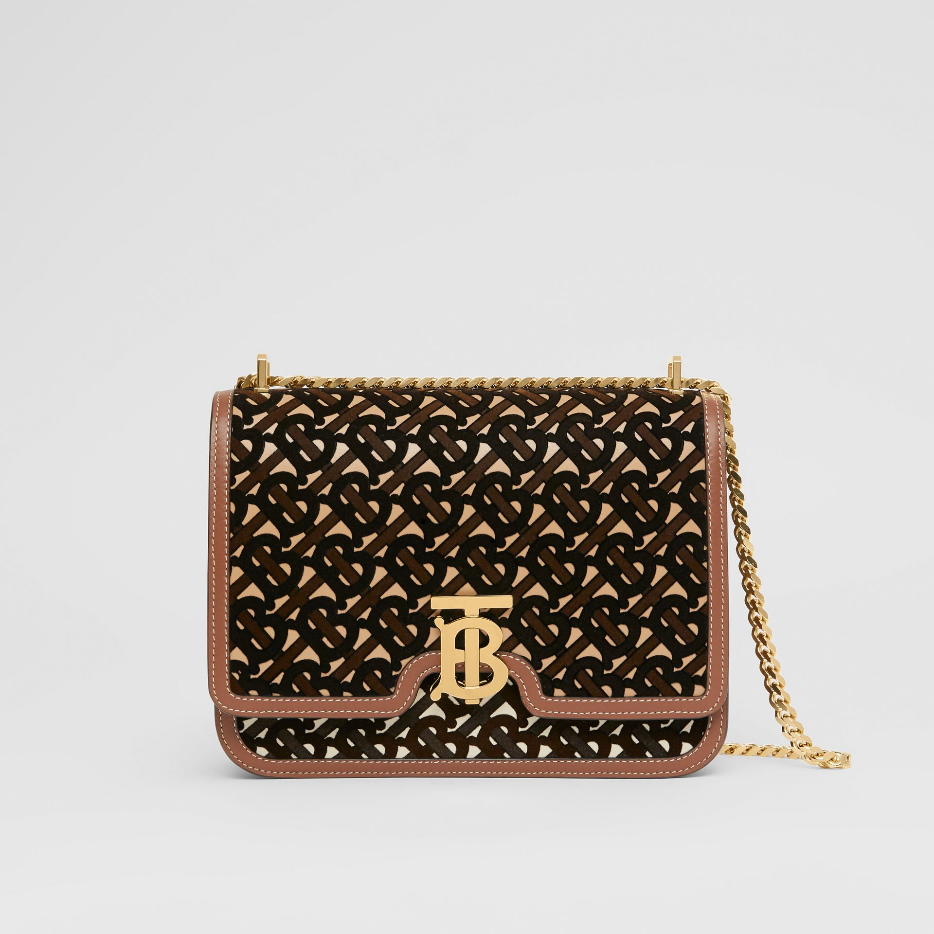 Medium Monogram Flocked Leather TB Bag in Dark Brown - Women | Burberry Canada - gallery image 0