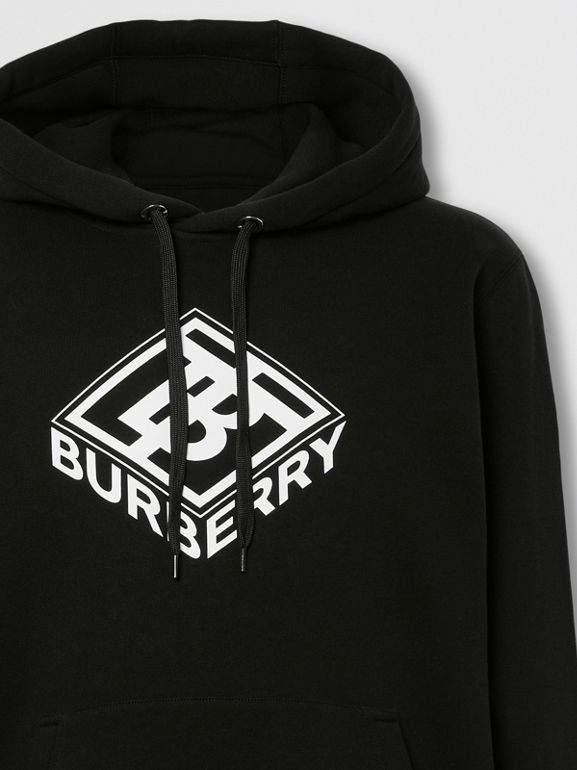 Logo Graphic Cotton Hoodie in Black - Men | Burberry - cell image 1