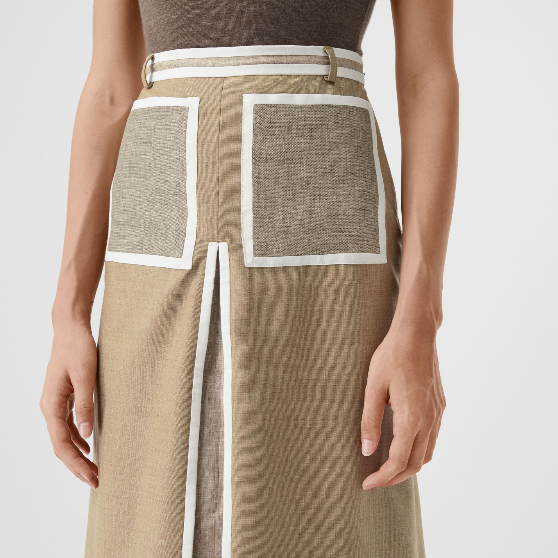 Box-pleat Detail Wool Cashmere A-line Skirt in Pecan Melange - Women | Burberry - gallery image 1