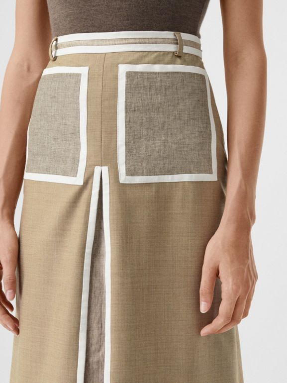 Box-pleat Detail Wool Cashmere A-line Skirt in Pecan Melange - Women | Burberry - cell image 1