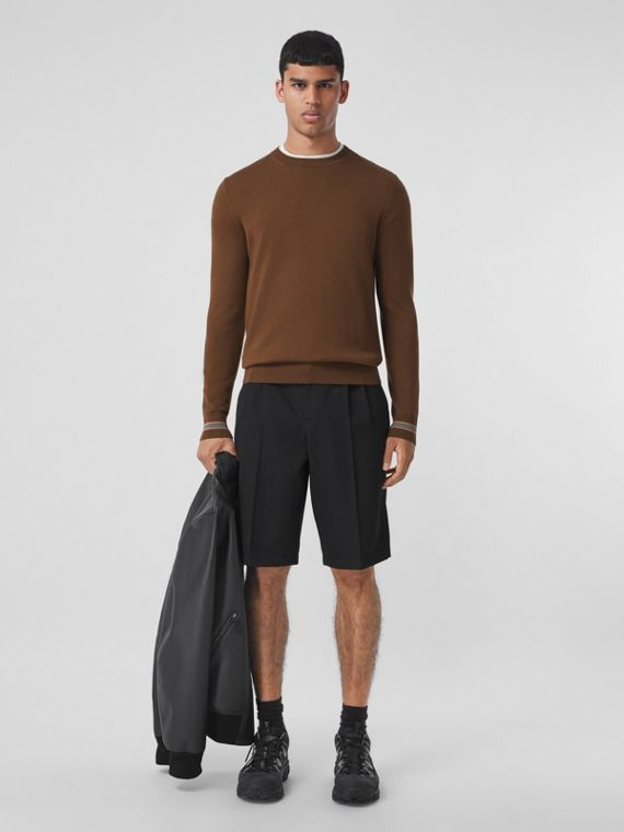 Icon Stripe Trim Wool Sweater in Dark Chestnut Brown