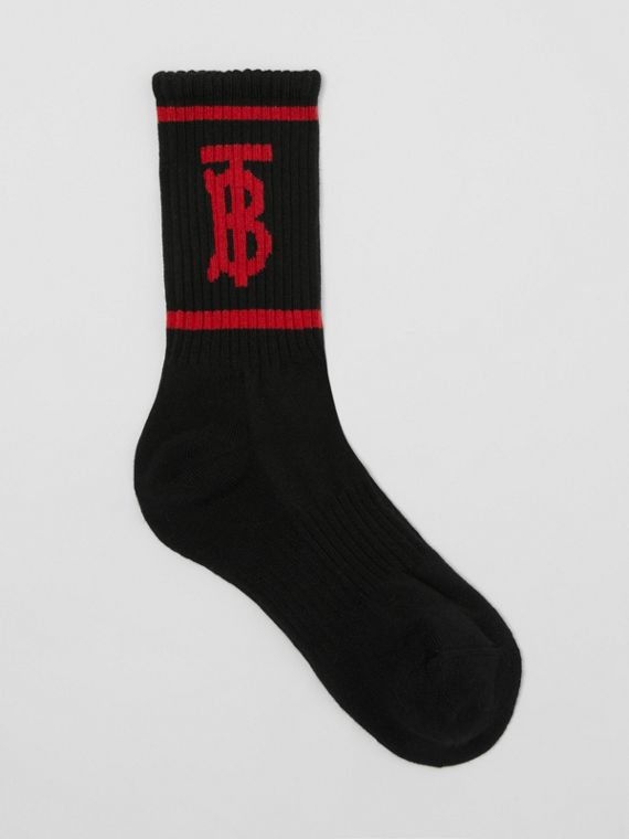 Monogram Motif Intarsia Socks in Black/red
