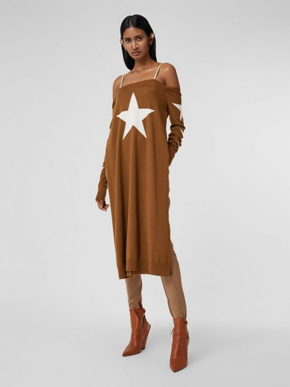 Star Motif Wool Reconstructed Sweater Dress in Mahogany