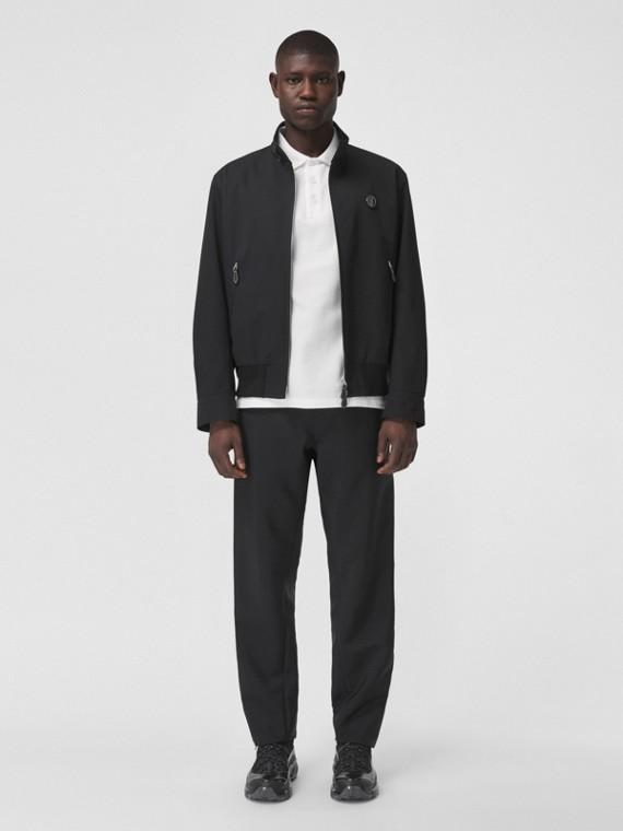 Monogram Motif Mohair Wool Jogging Pants in Black