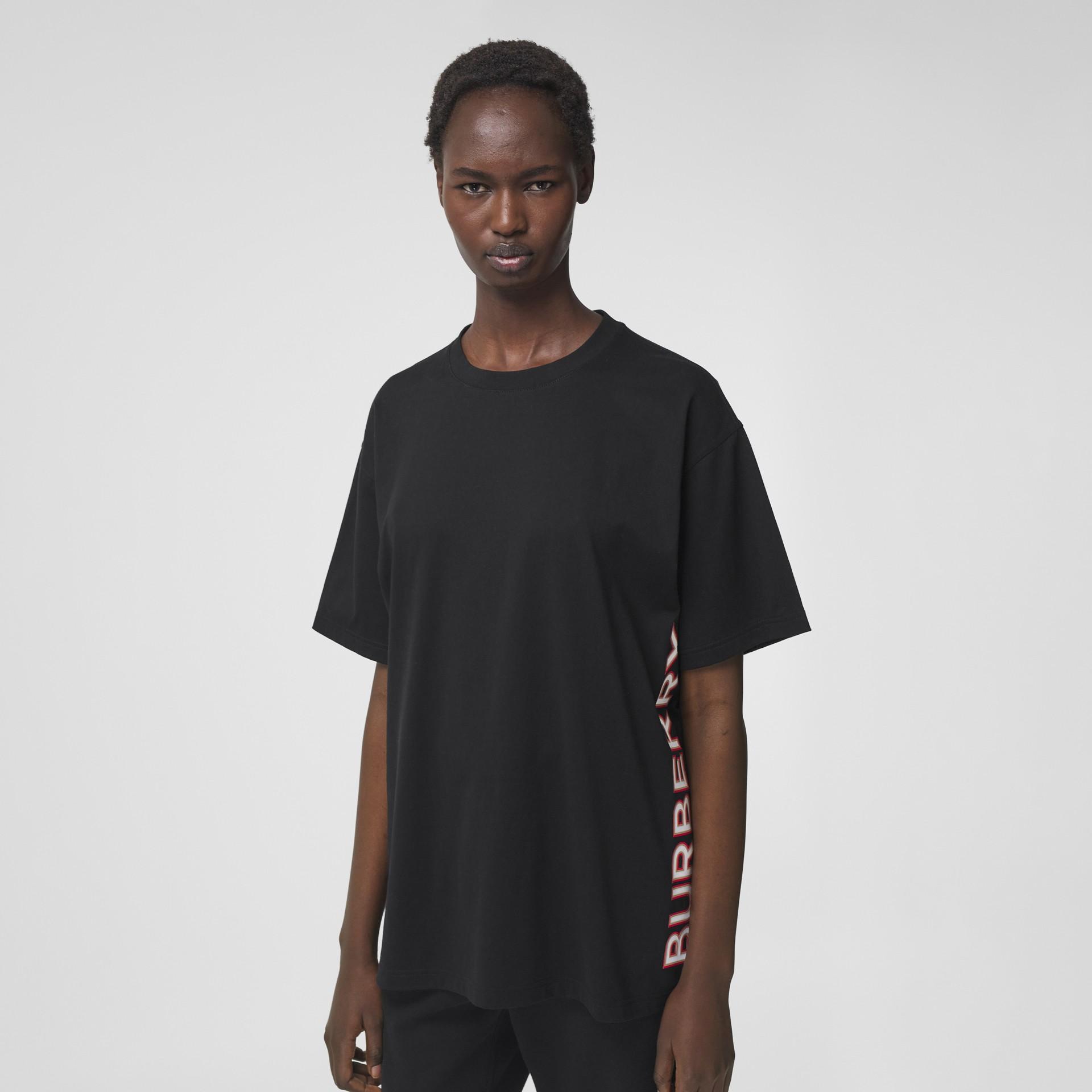 Logo Print Cotton Oversized T-shirt in Black - Women | Burberry - gallery image 3