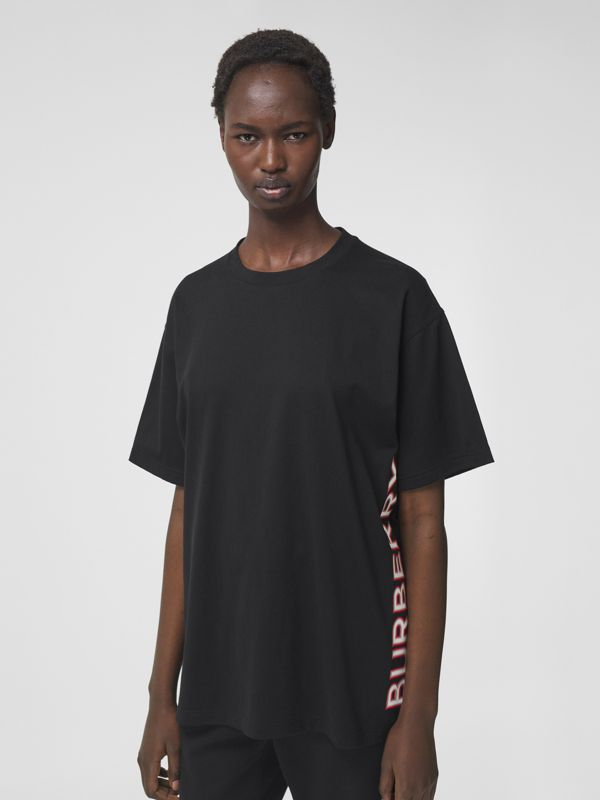Logo Print Cotton Oversized T-shirt in Black - Women | Burberry - cell image 3