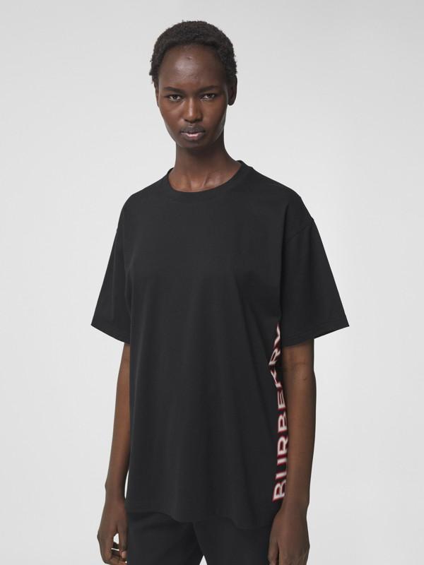 T-shirt oversize en coton avec logo (Noir) - Femme | Burberry Canada - cell image 3