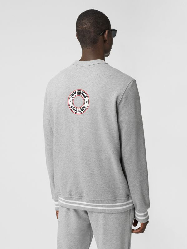 Logo Graphic Appliqué Cotton Sweatshirt in Pale Grey Melange - Men | Burberry - cell image 2