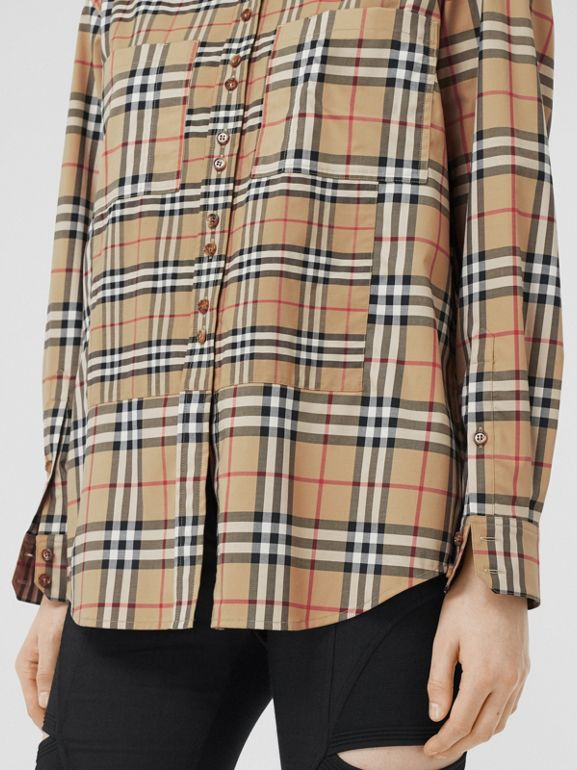 Contrast Check Stretch Cotton Shirt in Archive Beige - Women | Burberry - cell image 1