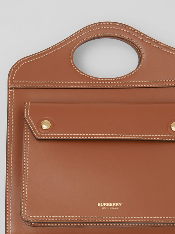 Medium Topstitch Detail Leather Pocket Bag in Malt Brown - Women | Burberry - cell image 1