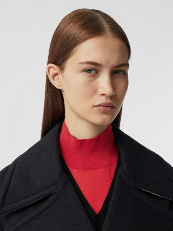 Pocket Detail Cashmere Pea Coat in Navy - Women | Burberry - cell image 1