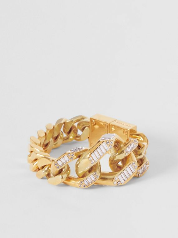 Crystal Detail Gold-plated Chain-link Bracelet in Light