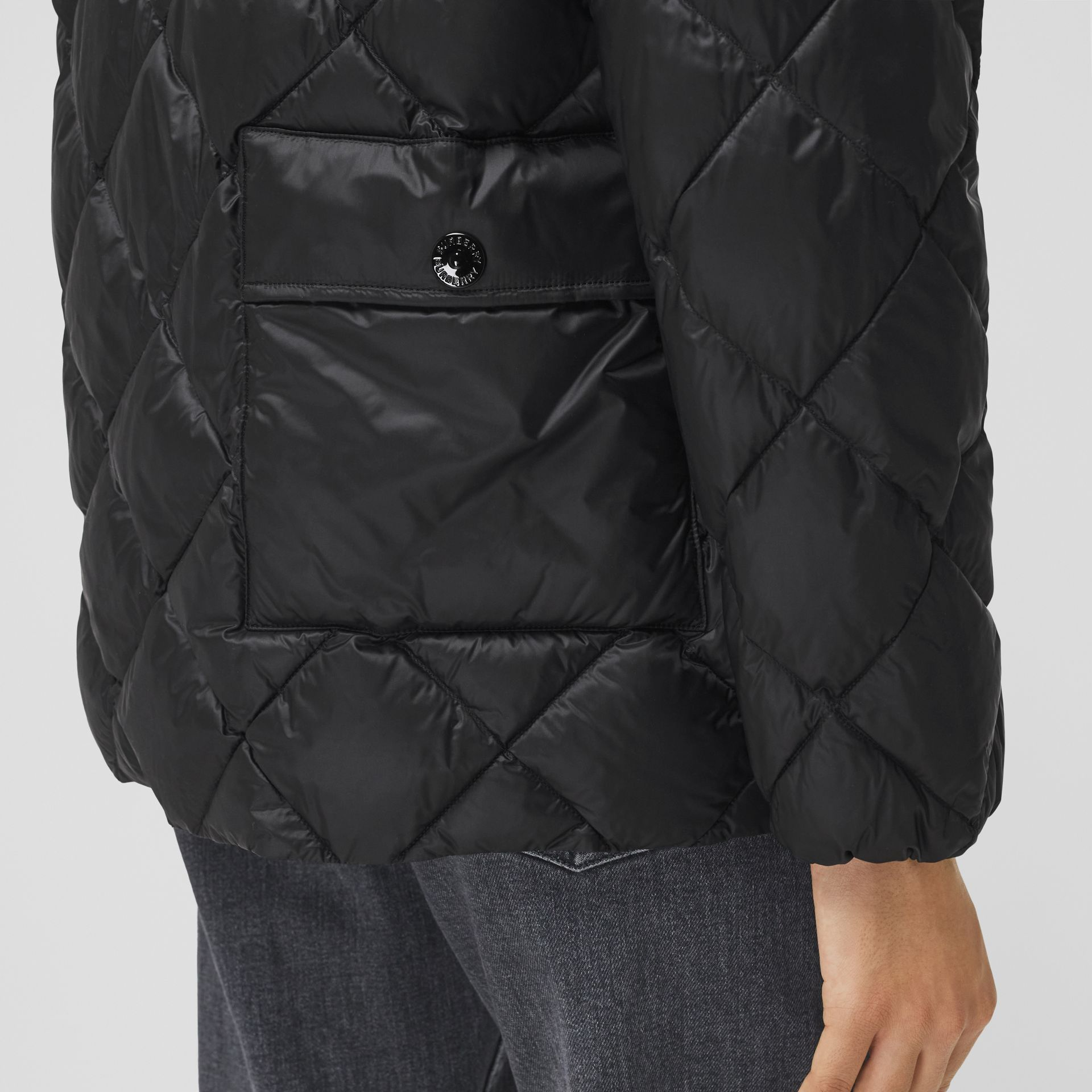 Diamond Quilted Down-filled Jacket in Black - Women | Burberry - gallery image 4