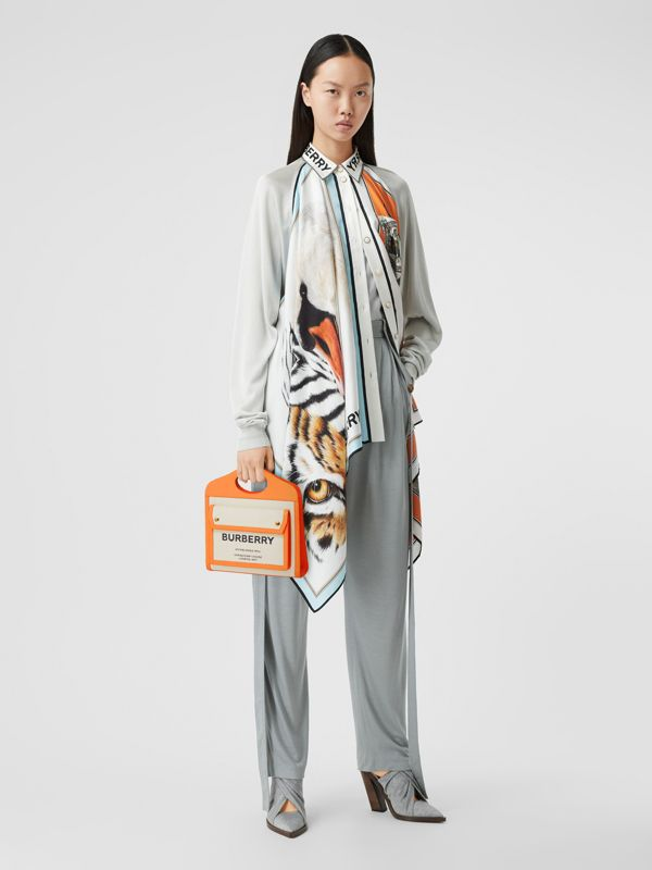Mini Two-tone Canvas and Leather Pocket Bag in Orange - Women | Burberry - cell image 2
