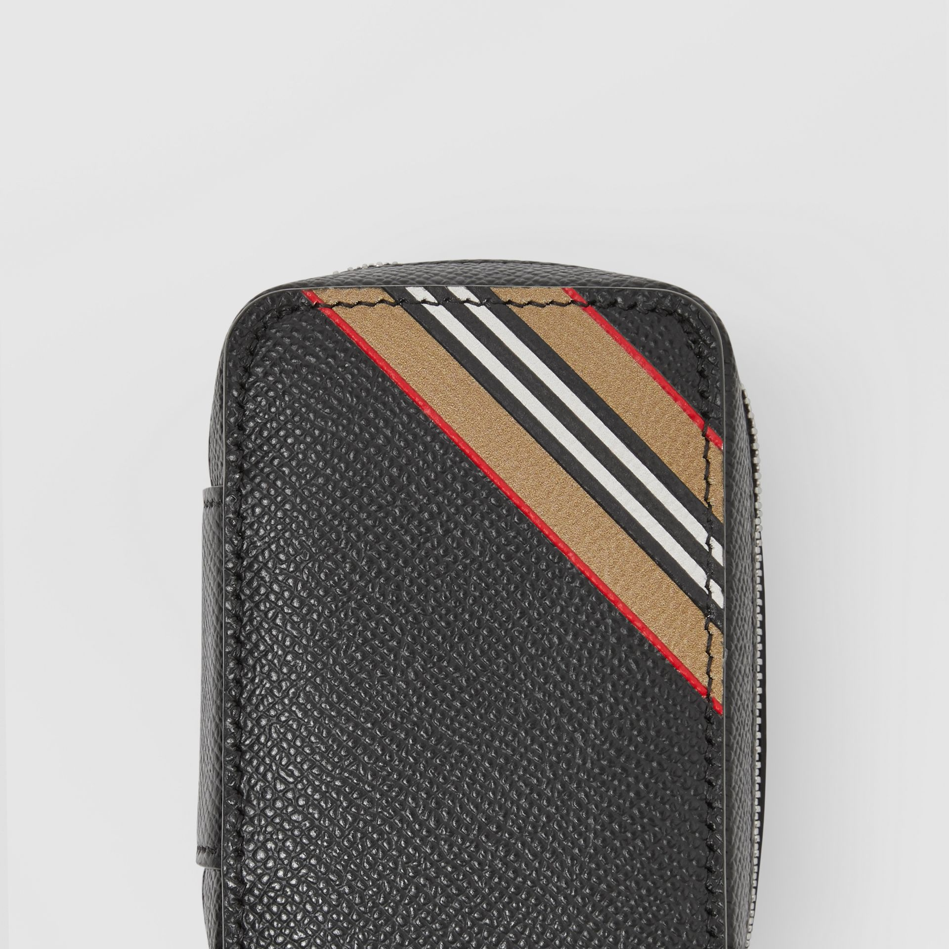 Icon Stripe Print Grainy Leather Cufflink Case in Black - Men | Burberry - gallery image 1