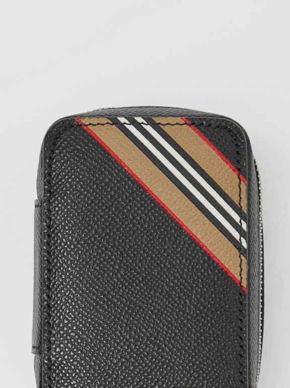 Icon Stripe Print Grainy Leather Cufflink Case in Black - Men | Burberry - cell image 1