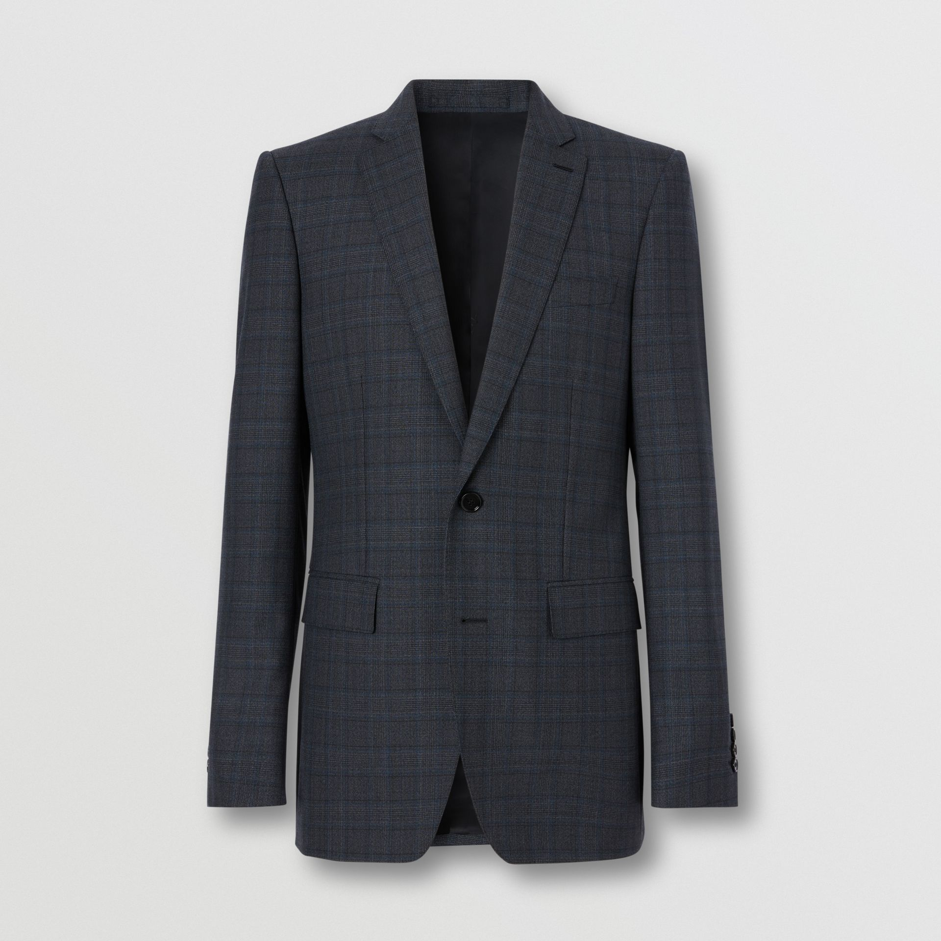 English Fit Check Wool Suit in Steel Blue | Burberry - gallery image 3