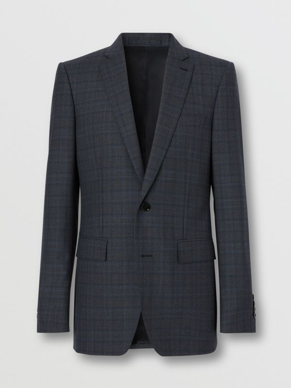 English Fit Check Wool Suit in Steel Blue | Burberry - cell image 3