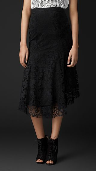 Flare-Front Embroidered Lace Skirt