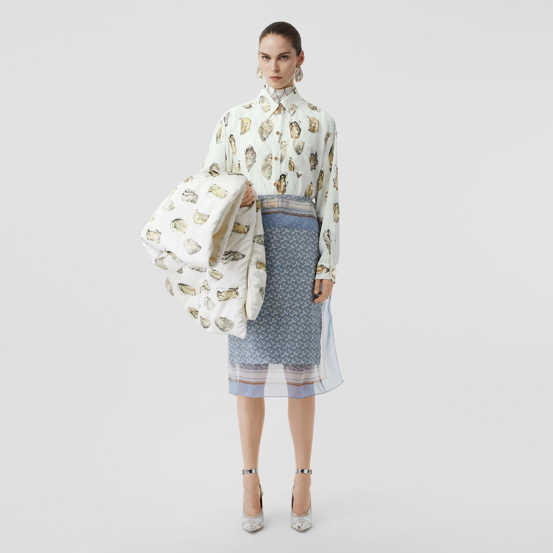 Embellished Oyster Print Silk Oversized Shirt in White - Women | Burberry - gallery image 6