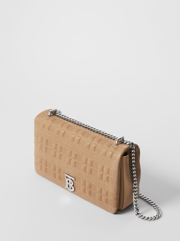 Medium Quilted Grainy Leather Lola Bag in Camel/palladium - Women | Burberry - cell image 3