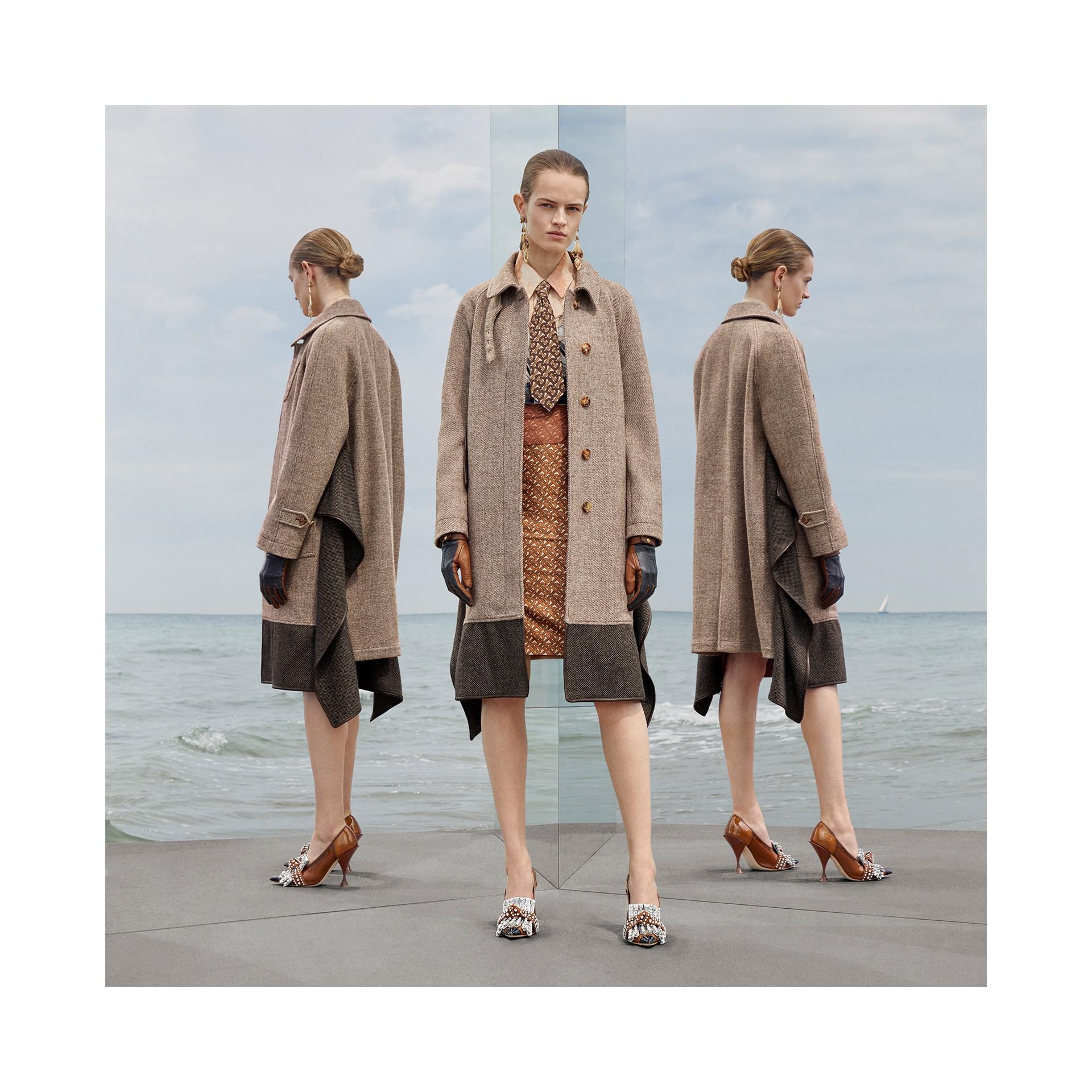 Paletot en laine et mohair avec écharpe (Brun Noisette Foncé) - Femme | Burberry Canada - photo de la galerie 7