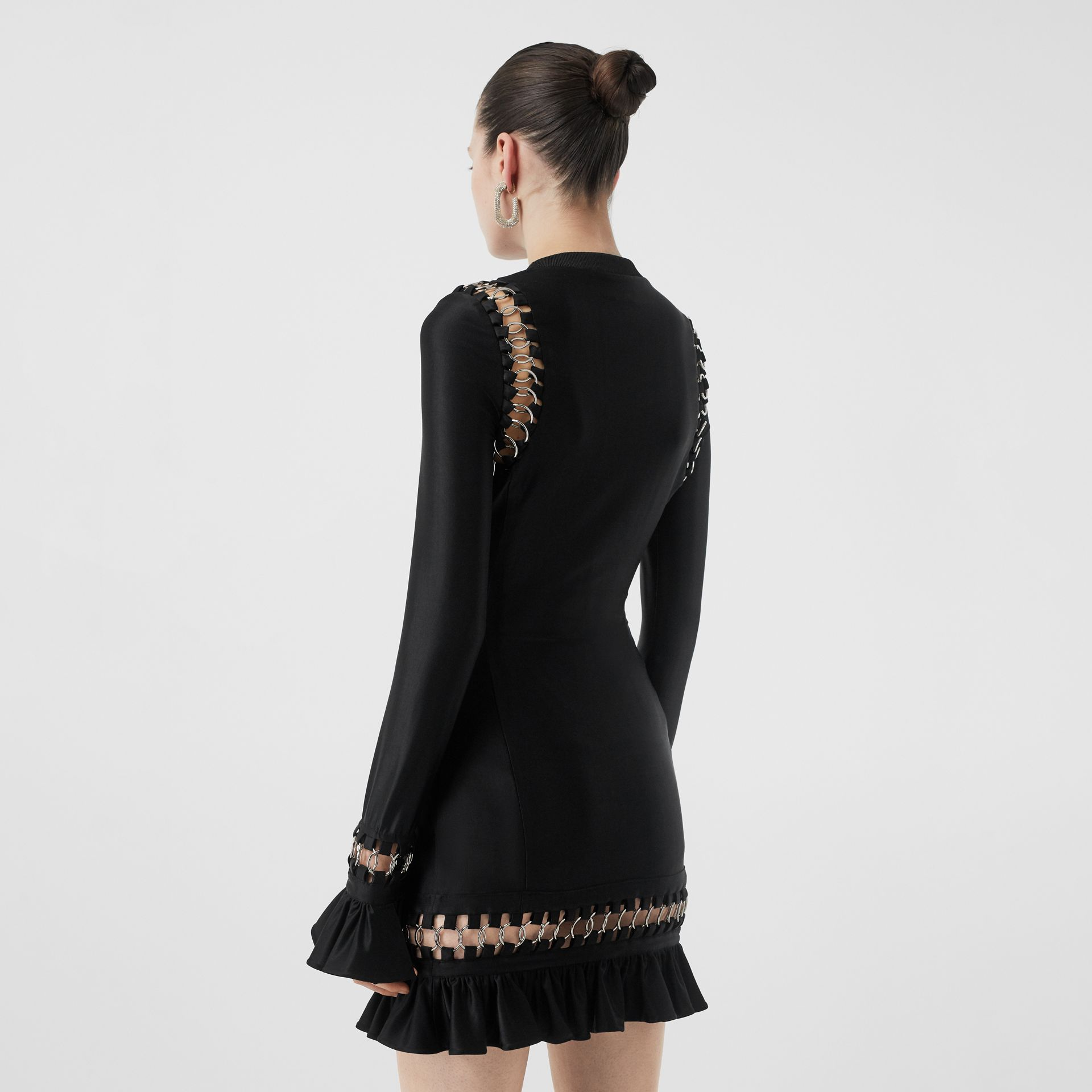 Ring-pierced Stretch Jersey Mini Dress in Black - Women | Burberry United Kingdom - gallery image 7