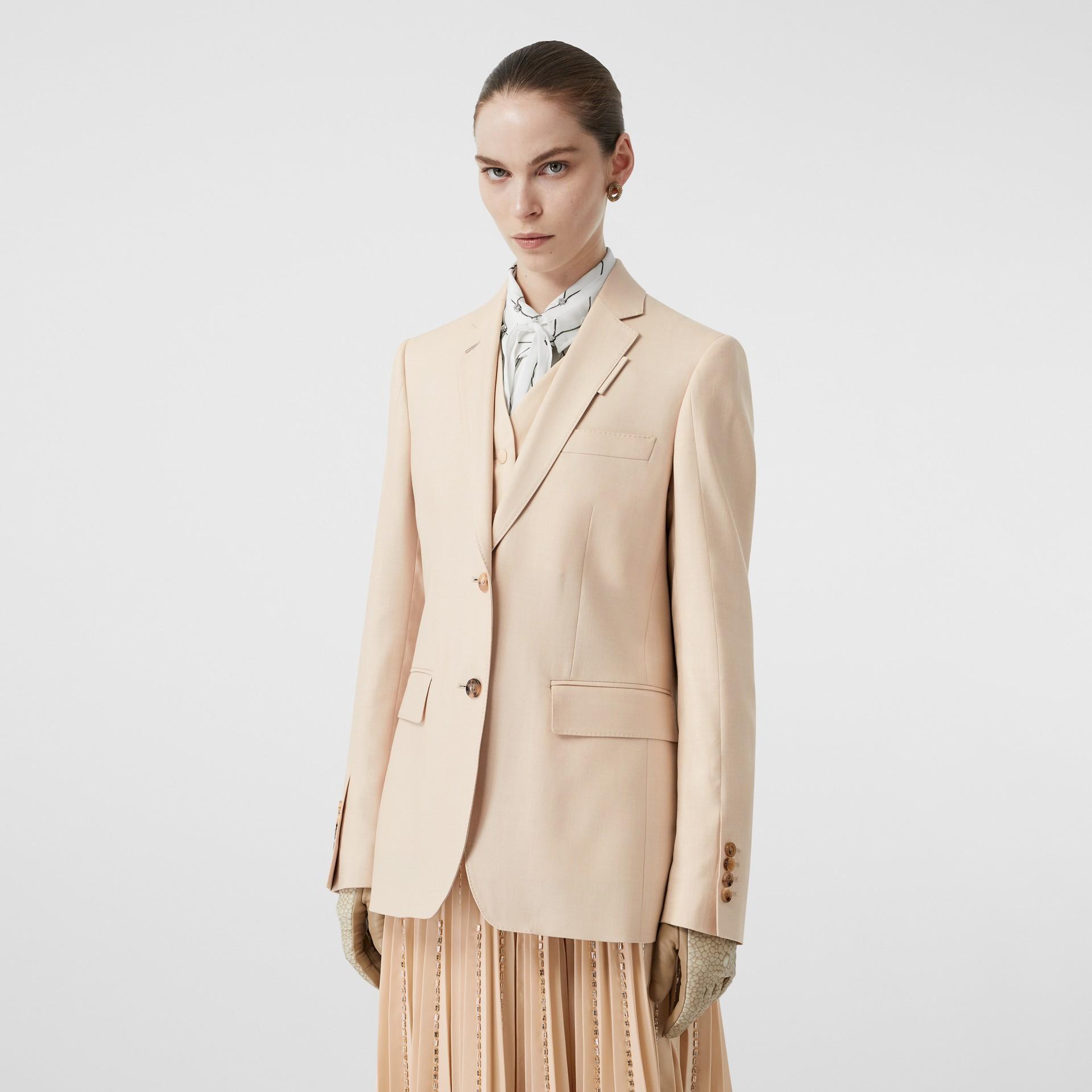 Waistcoat Detail Mohair Silk Blend Blazer in Sesame - Women | Burberry - gallery image 4