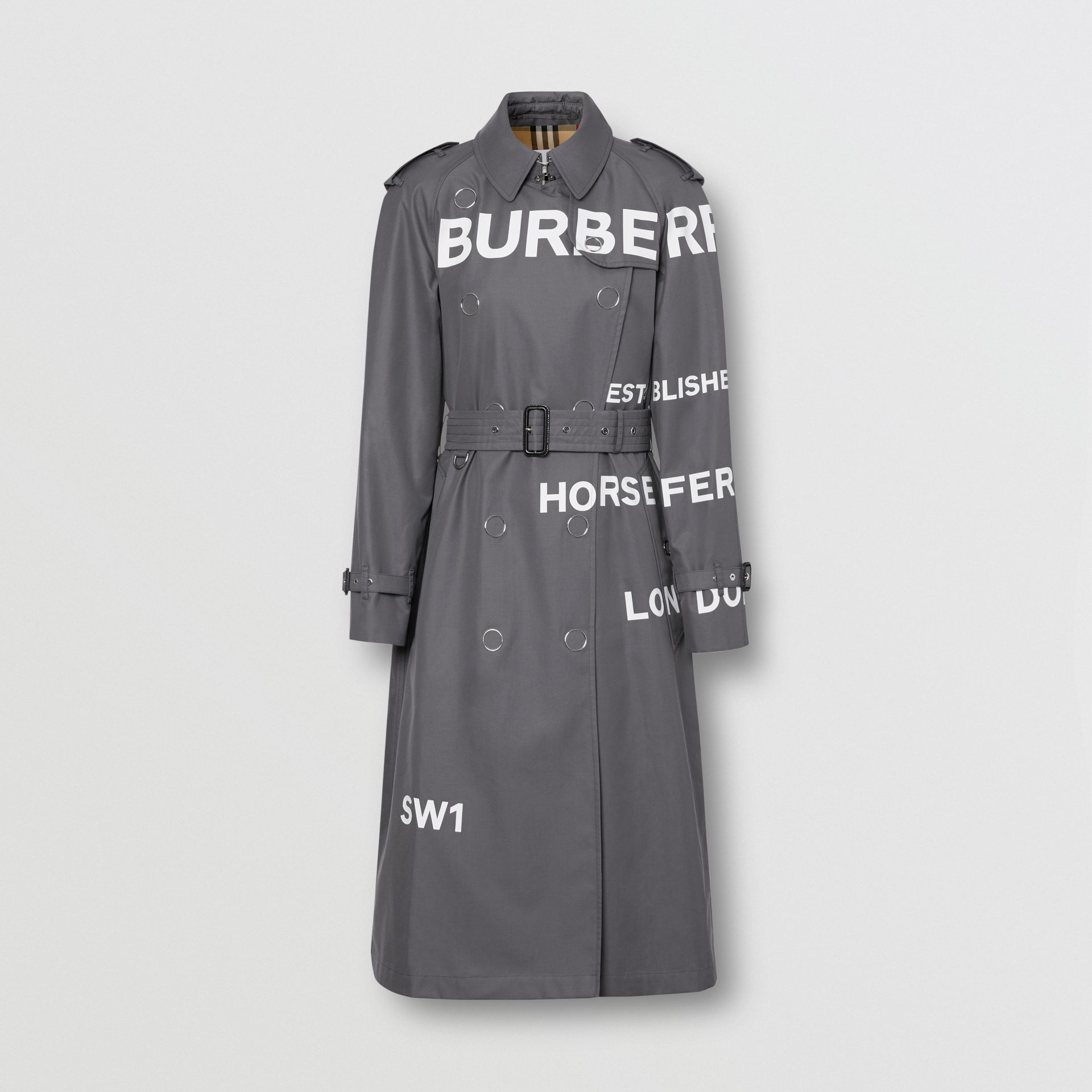 Horseferry Print Cotton Gabardine Trench Coat in Mid Grey - Women | Burberry United Kingdom - gallery image 3