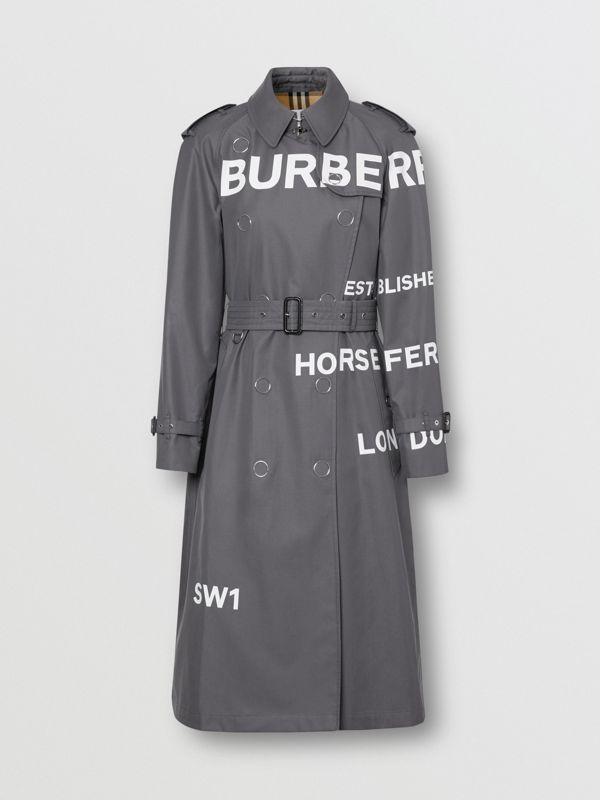 Horseferry Print Cotton Gabardine Trench Coat in Mid Grey - Women | Burberry - cell image 3
