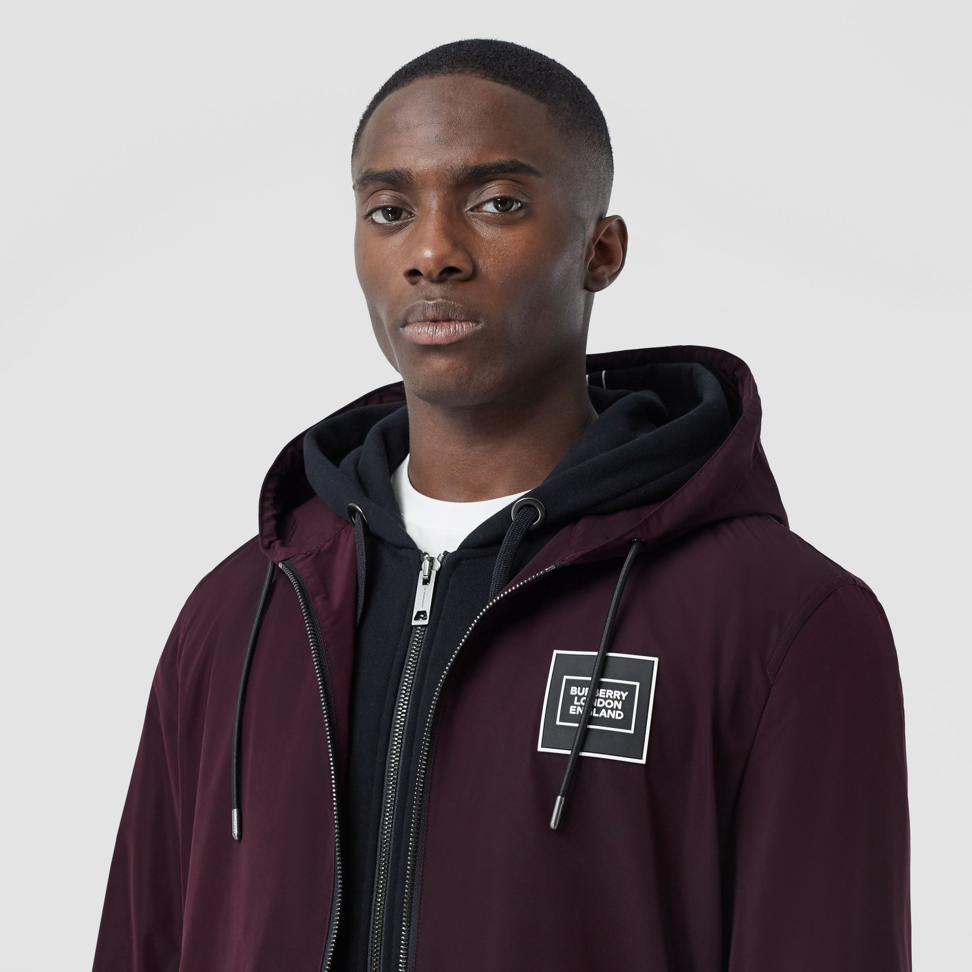 Logo Appliqué Shape-memory Taffeta Hooded Jacket in Elderberry - Men | Burberry United Kingdom - gallery image 1