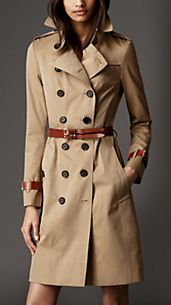 Trench-coat long en gabardine de coton avec touches de cuir
