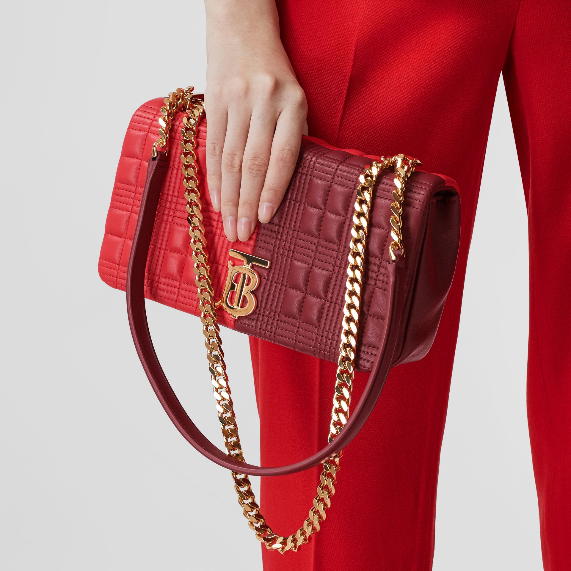 Small Quilted Colour Block Lambskin Lola Bag in Bright Red/burgundy - Women | Burberry United Kingdom - gallery image 2