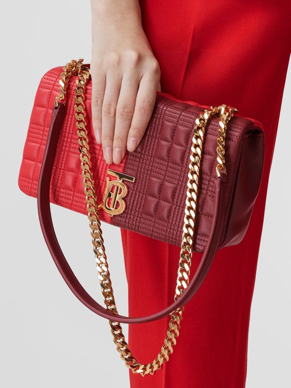 Small Quilted Colour Block Lambskin Lola Bag in Bright Red/burgundy - Women | Burberry United Kingdom - cell image 2
