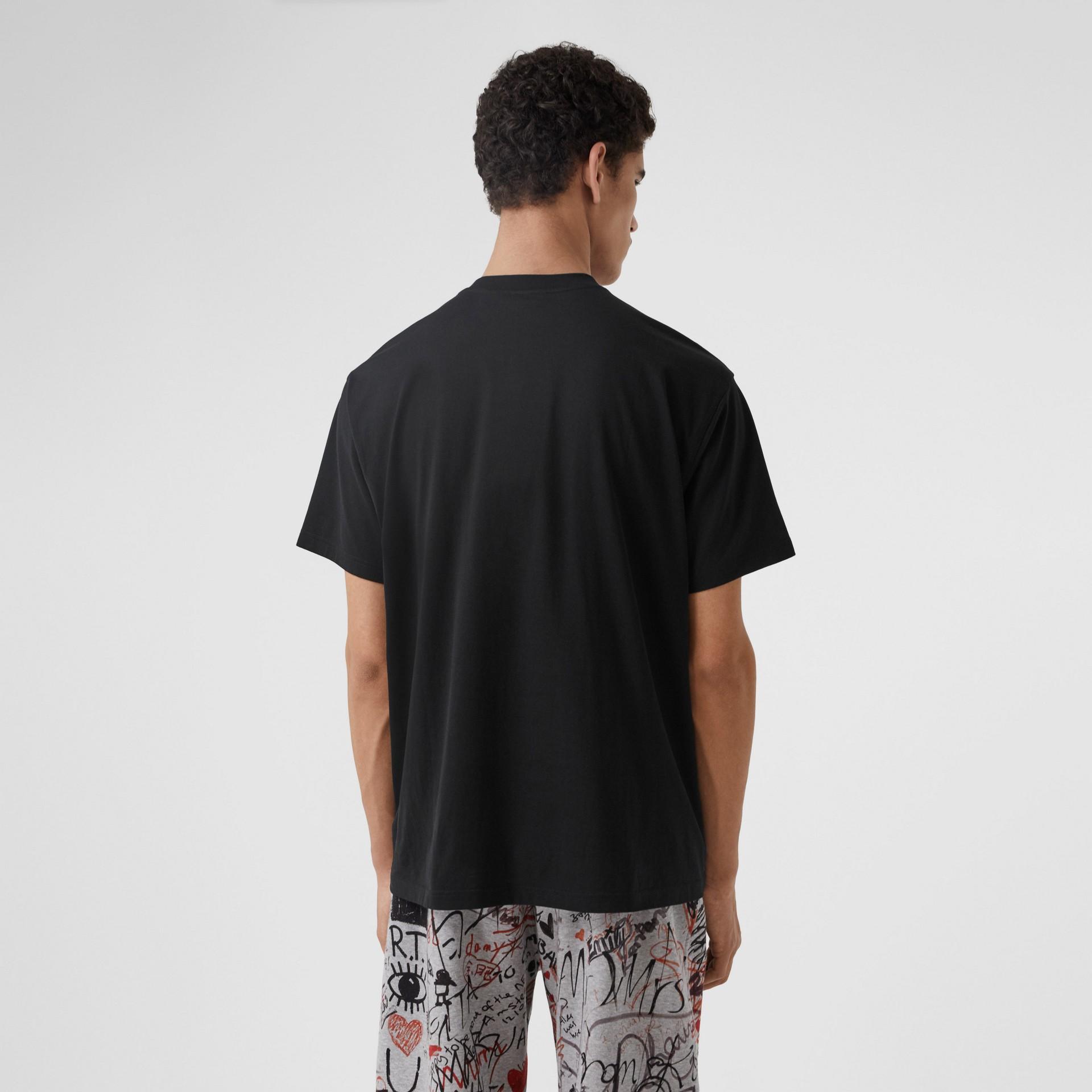 Monogram Motif Cotton Oversized T-shirt in Black - Men | Burberry United Kingdom - gallery image 2