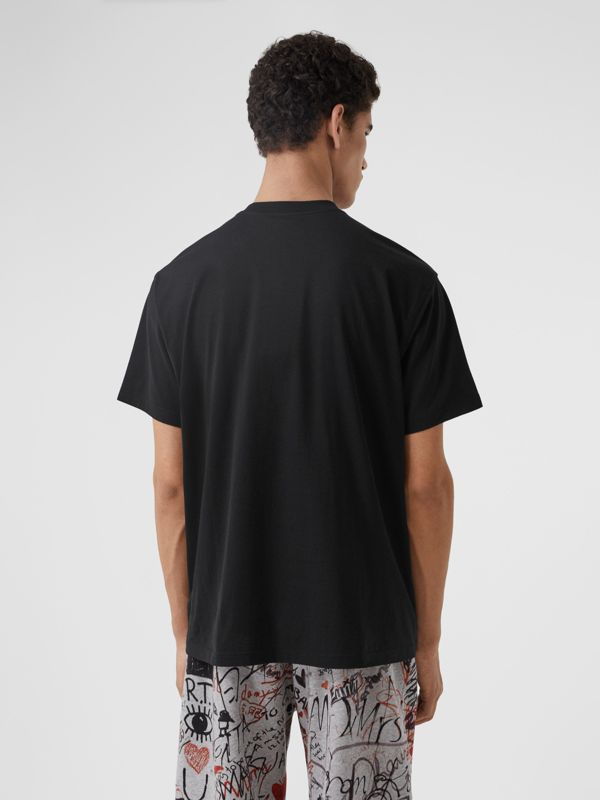 Monogram Motif Cotton Oversized T-shirt in Black - Men | Burberry United Kingdom - cell image 2