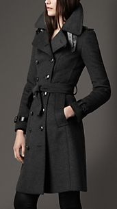 Trench-coat long en laine et cachemire