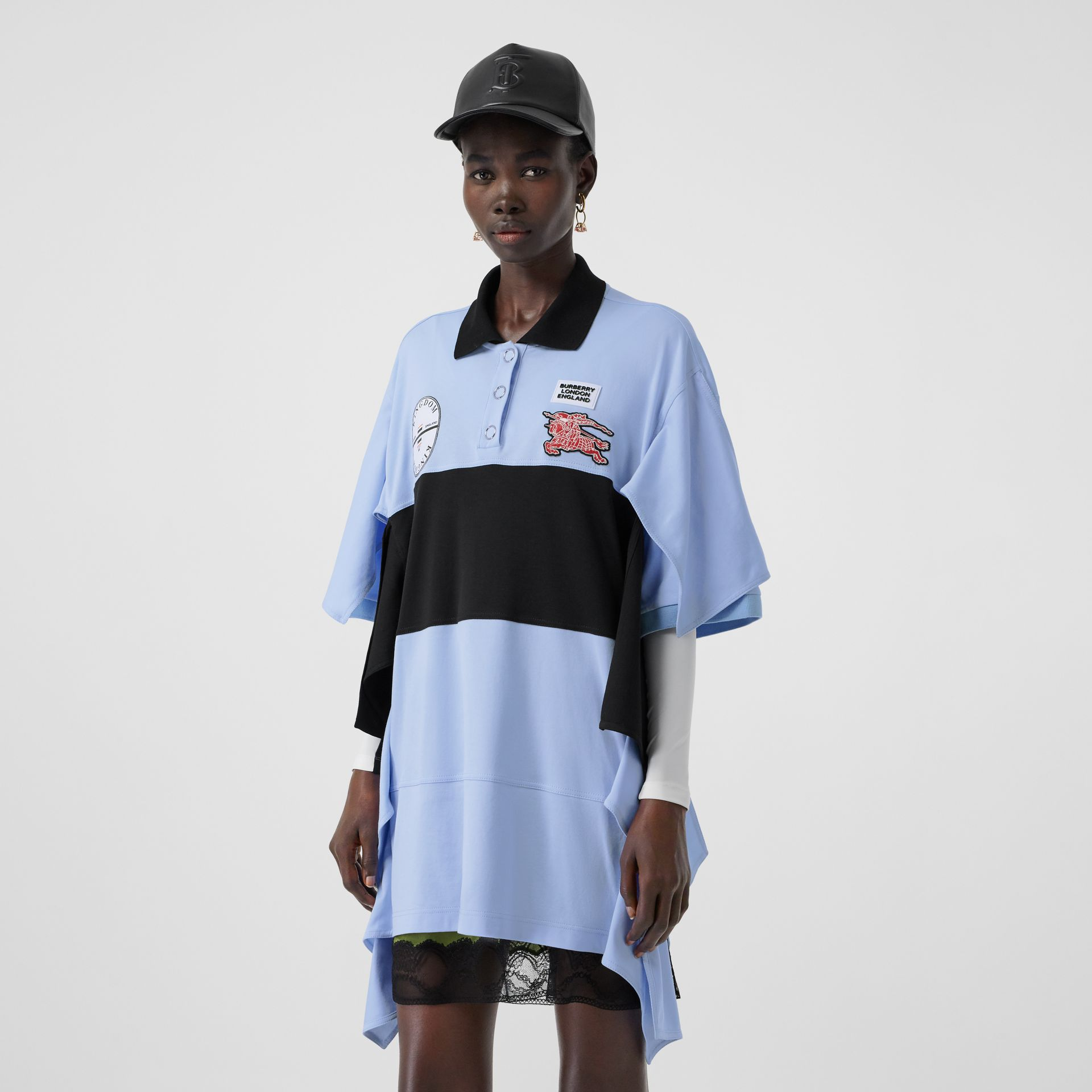 Drape Detail Striped Cotton Oversized Polo Shirt Dress in Baby Blue - Women | Burberry - gallery image 4