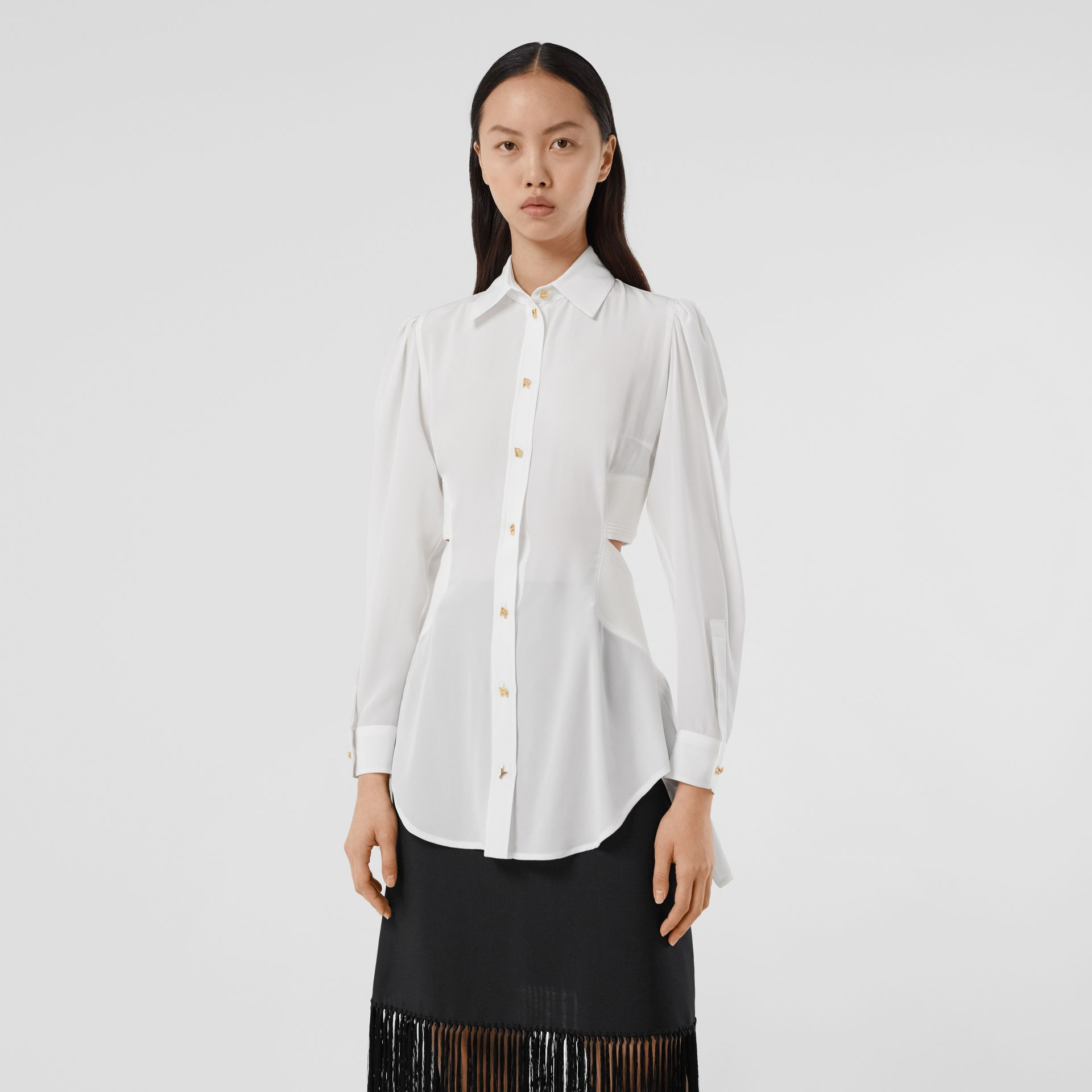 Logo Detail Cut-out Silk Shirt in Optic White - Women | Burberry United States - gallery image 5