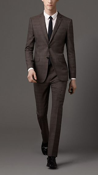 Modern Fit Virgin Wool Check Suit
