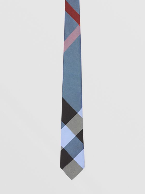 Classic Cut Check Silk Jacquard Tie in Bright Steel Blue | Burberry United Kingdom - cell image 3