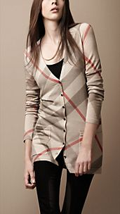 Check Wool Cashmere Cardigan