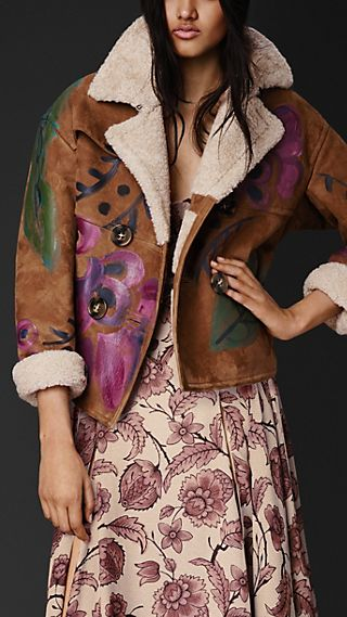 Hand-painted Cropped Sheepskin Jacket