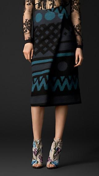 Jacquard Blanket Pleat Front Skirt