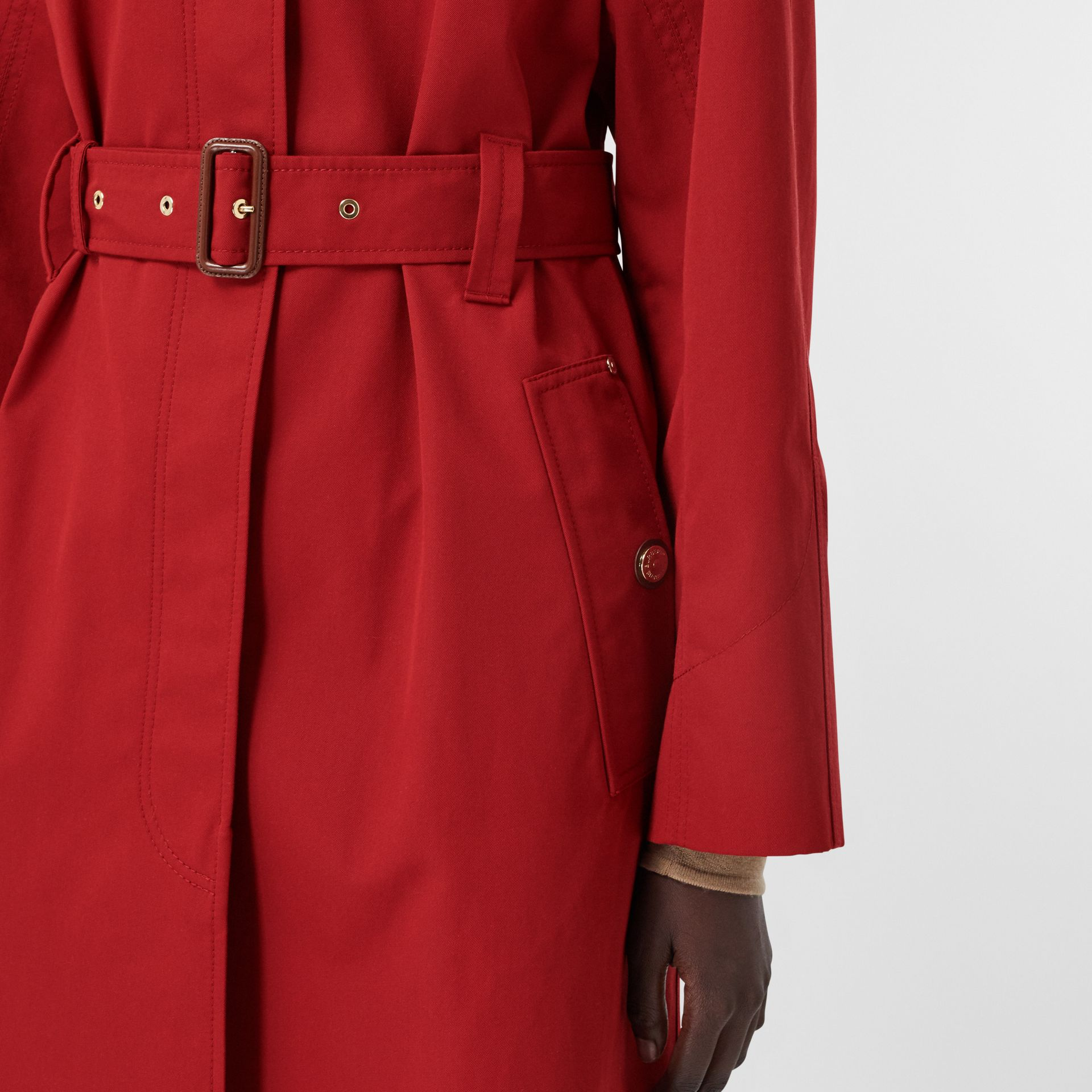 Tropical Gabardine Belted Car Coat in Dark Carmine - Women | Burberry - gallery image 5