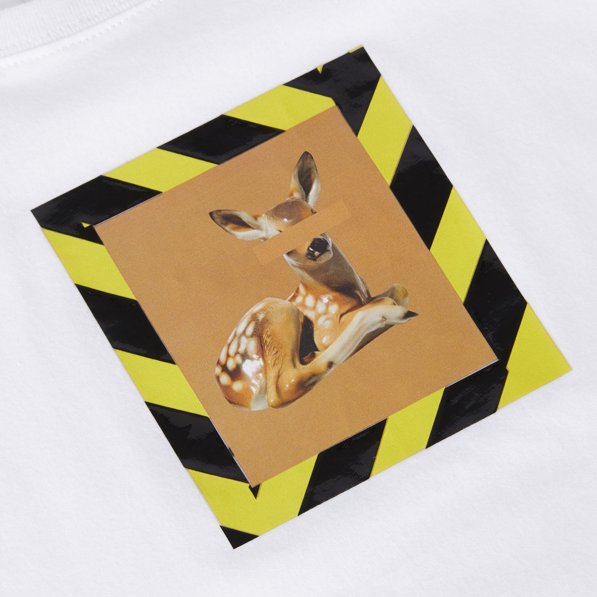 Deer Print Cotton T-shirt in White | Burberry United States - gallery image 1