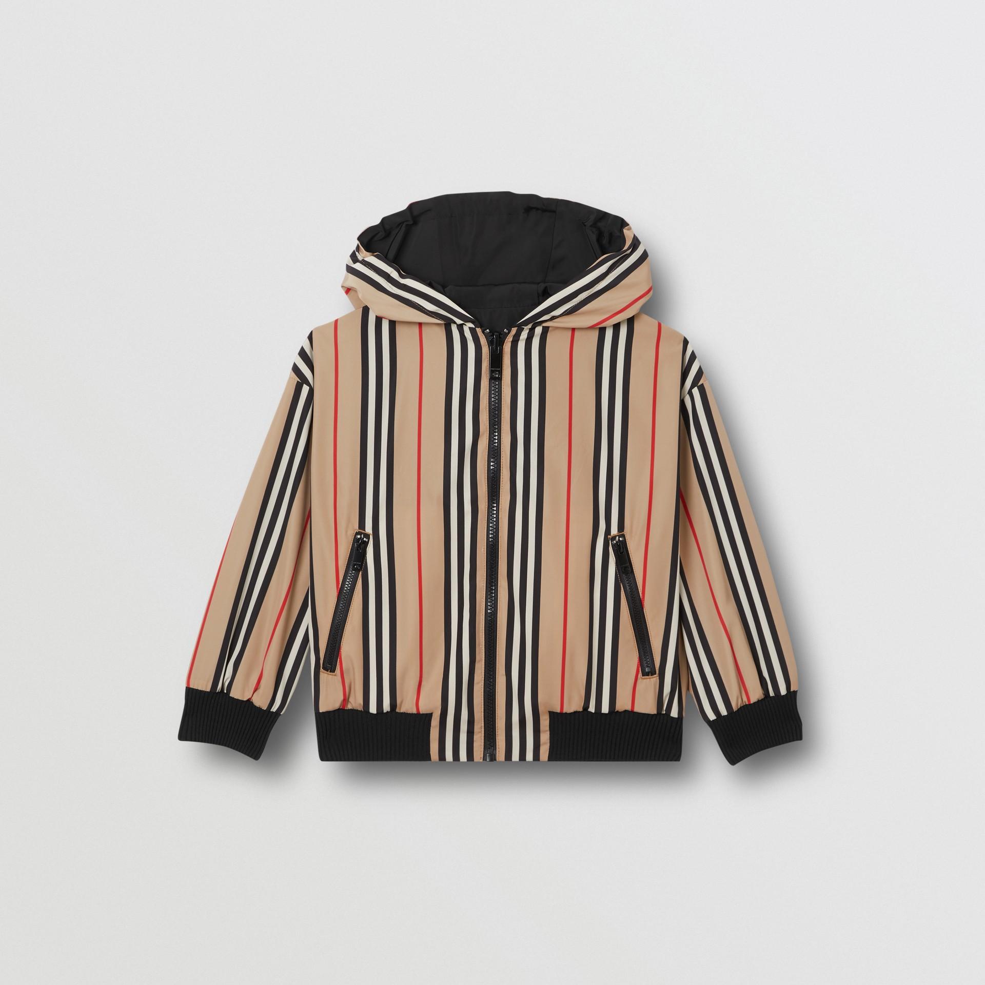 Chaqueta reversible a rayas Icon Stripe con capucha (Negro) | Burberry - imagen de la galería 0