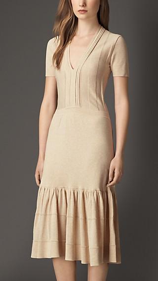 Tiered Cotton Blend Dress