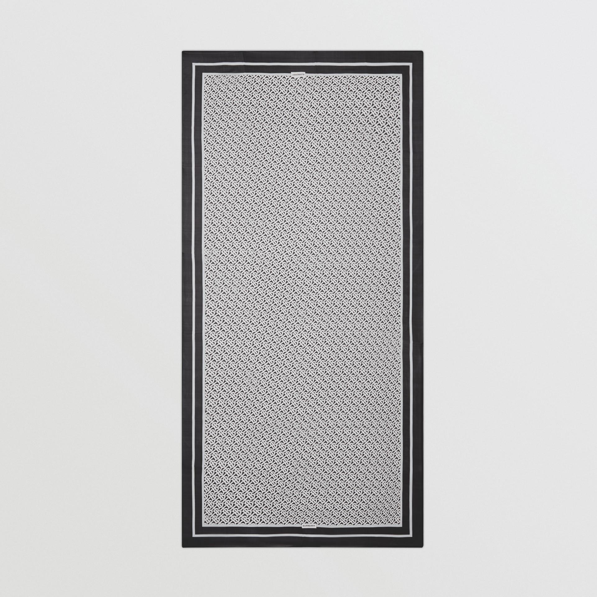 Monogram Print Silk Chiffon Scarf in Monochrome | Burberry - gallery image 5