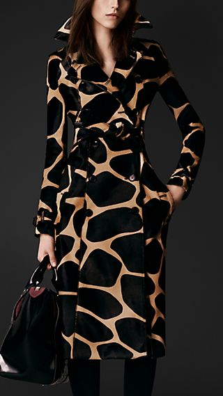 Animal Print Calfskin Trench Coat